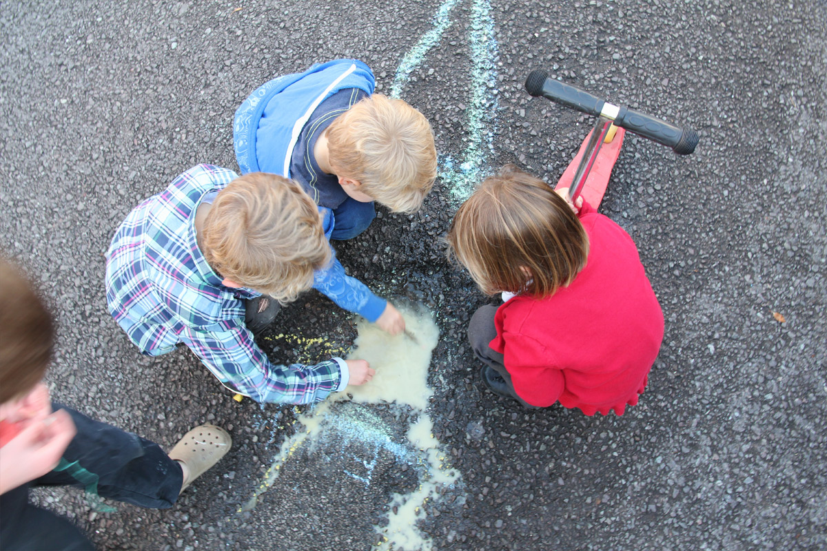 group of children chalking