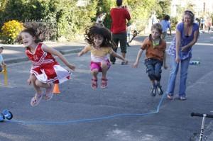 Group of children skipping