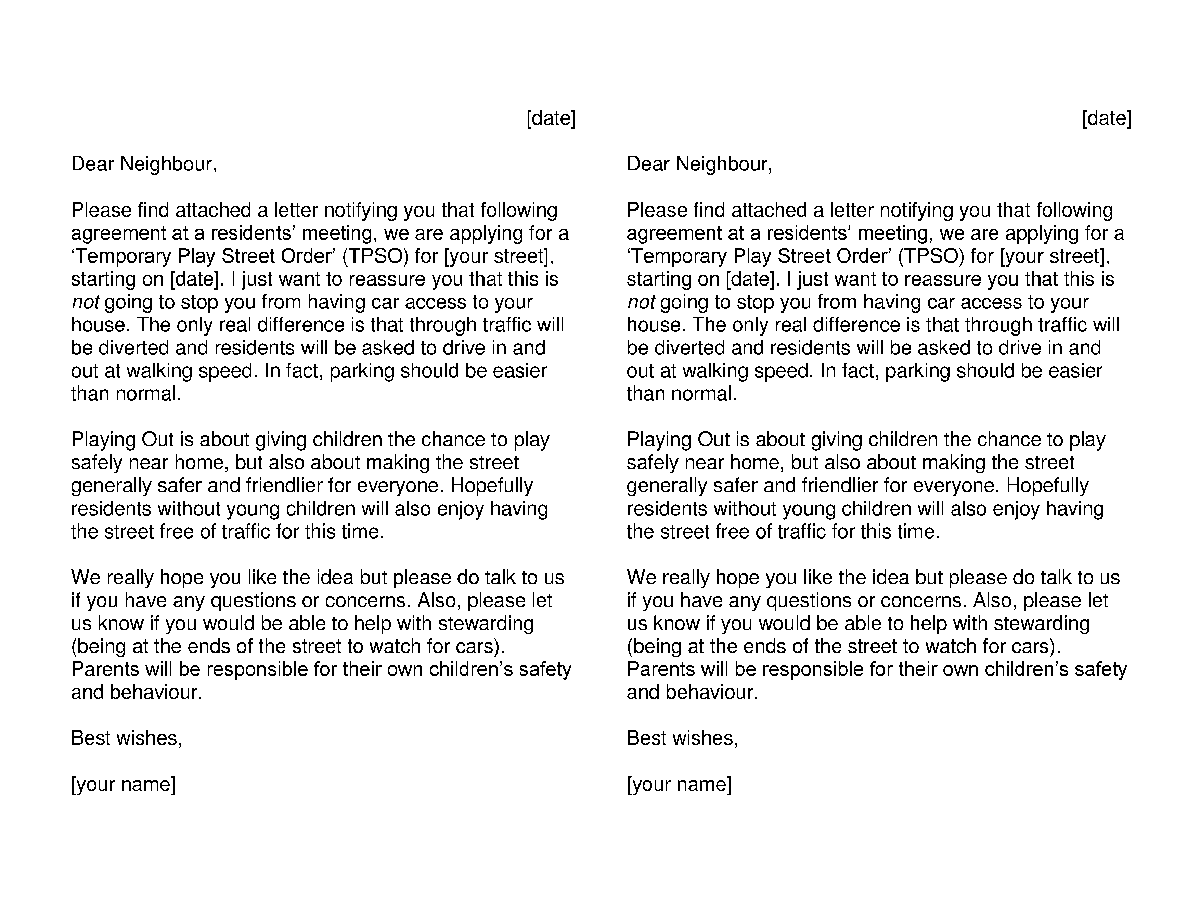 Friendly Cover letter - Playing Out