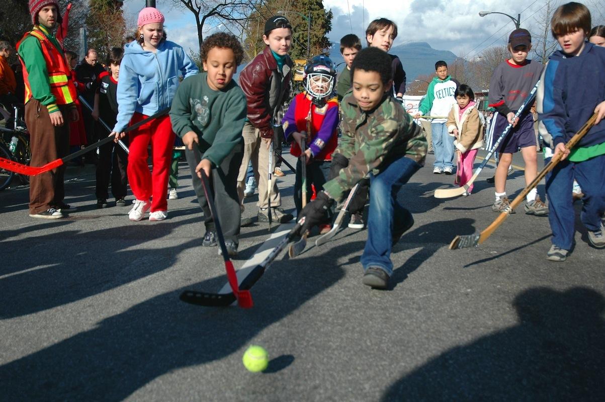 street play in canada street hockey snow and sidewalks