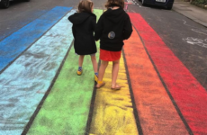 rainbow chalk on play street