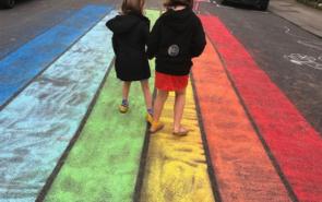 rainbow chalk on play street