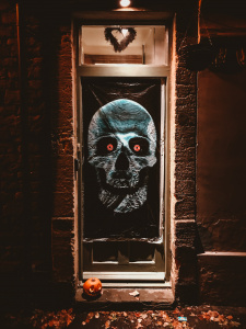 Doorway decorated with spooky skull