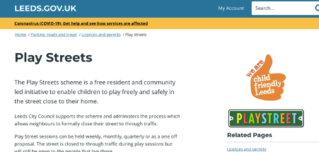 Example of play streets page from Leeds council