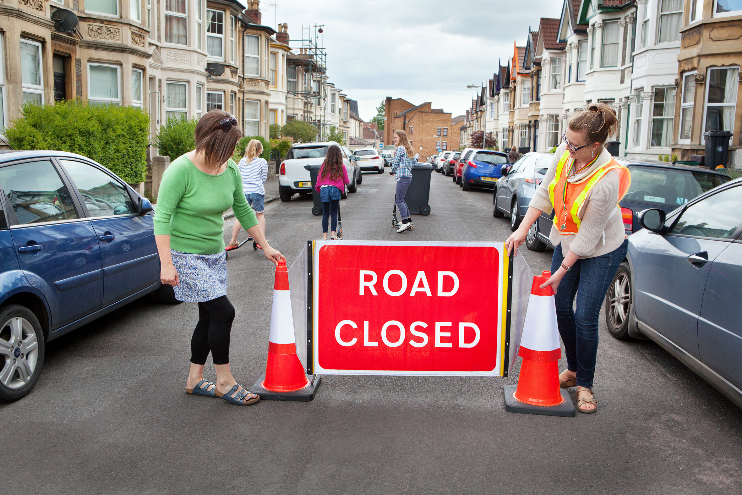 Stewards closing the road