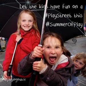 Happy children on a play street