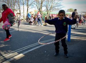 Hula hooping on a school street